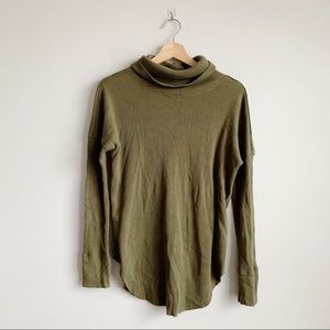 Aritzia TNA Olive Waffle Knit Turtle Neck Top S